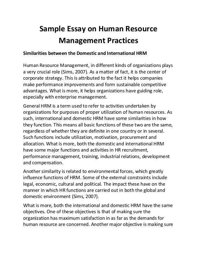 long essay topics on human resource management