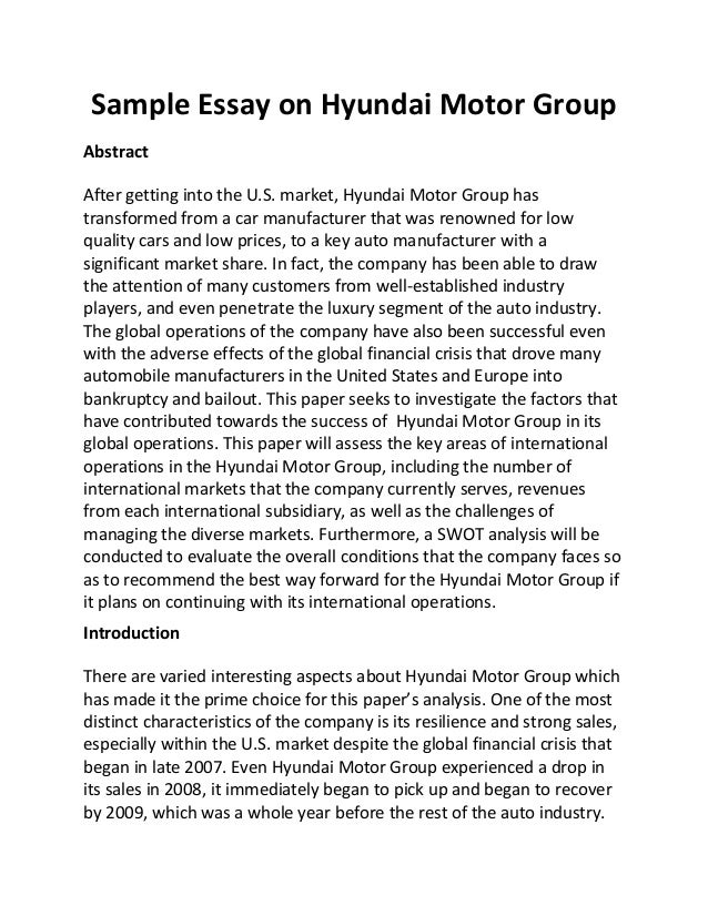 Sample Essay On Hyundai Motor Group Abstract After Getting Into The U.S.  Market, Hyundai Motor ...
