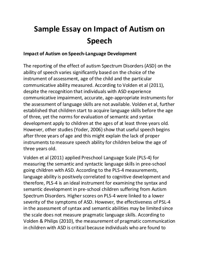 sample essay on impact of autism on speech impact of autism on speech language development - Example Of Speech Essay
