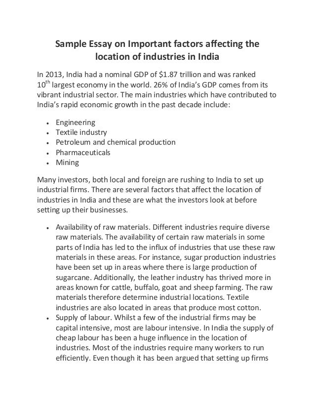 sample essay on important factors affecting the location of industrie  sample essay on important factors affecting the location of industries in in 2013