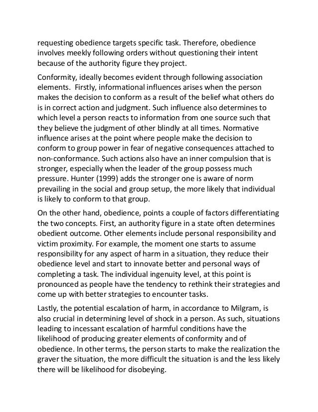 authority and obedience essays Obedience essay the milgram experiment - 564 words the milgram experiment the milgram study is a study of social obedience and human interaction with authority figures and conformity.