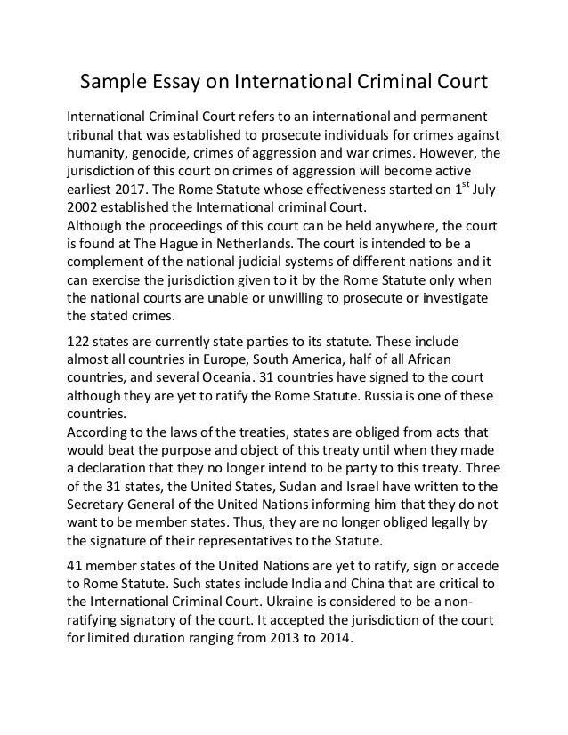 sample essay on international criminal court sample essay on international criminal court international criminal court refers to an international and permanent tribuna