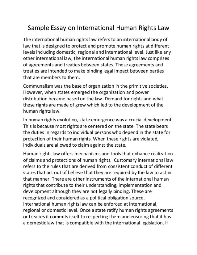 sample essay on international human rights law sample essay on international human rights law the international human rights law refers to an international
