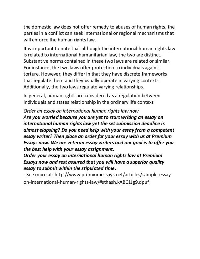 sample essay on international human rights law if 2 the