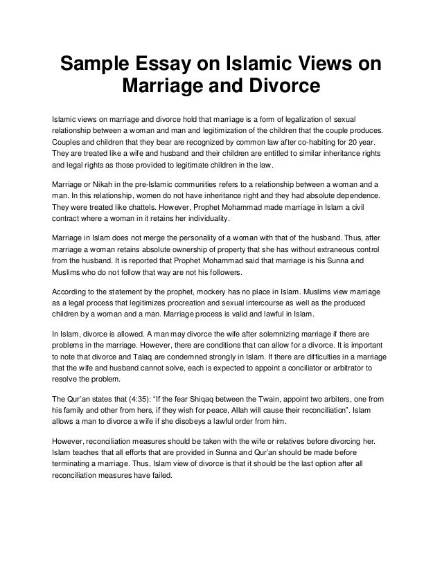 sample essay on islamic views on marriage and divorce sample essay on islamic views on marriage and divorce islamic views on marriage and divorce hold