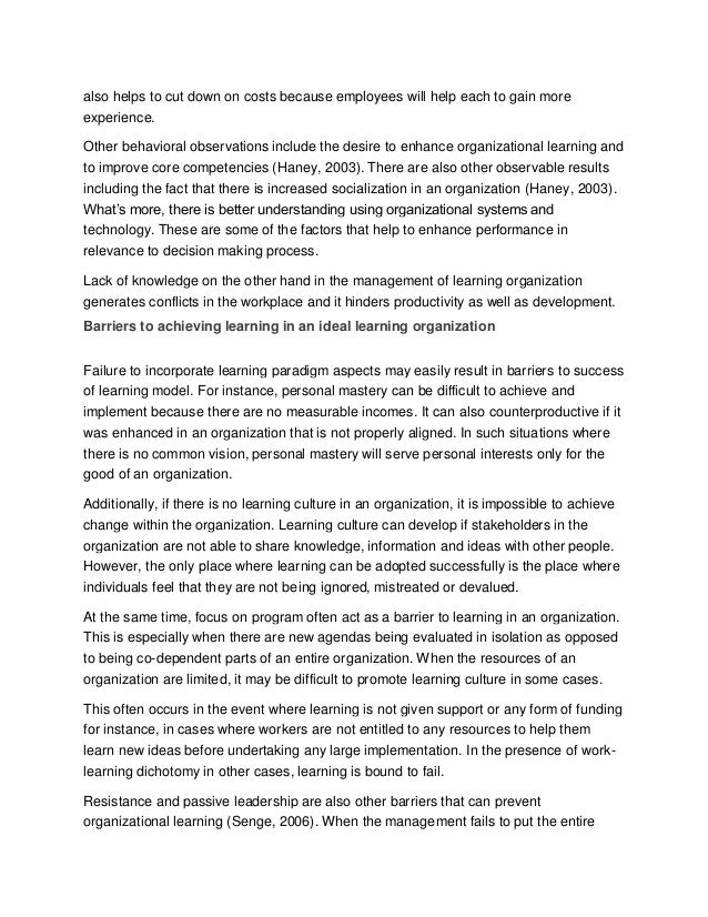 sample essay on organization as a learning organization mastery experience 4 also