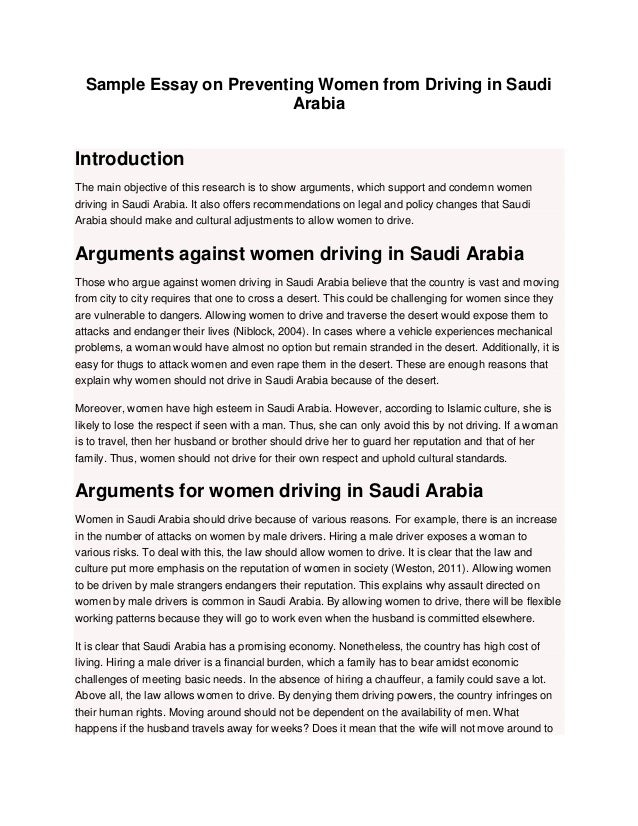 Essay About Women  Barcafontanacountryinncom Sample Essay On Preventing Women From Driving In Saudi Arabia   Jpg Cb    Essay About Women