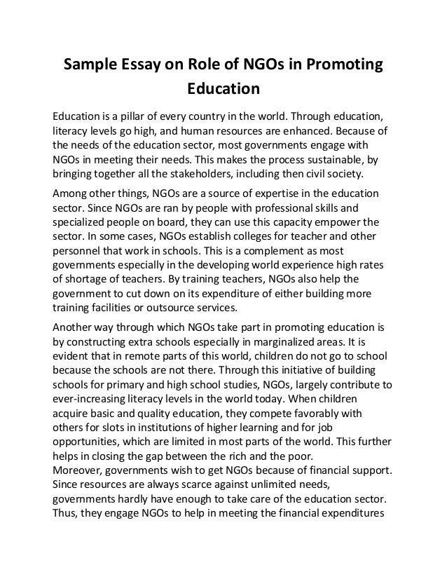 sample essay on role of ng os in promoting education sample essay on role of ngos in promoting education education is a pillar of every country