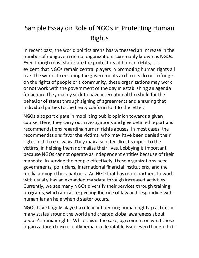 sample essay on role of ng os in protecting human rights sample essay on role of ngos in protecting human rights in recent past