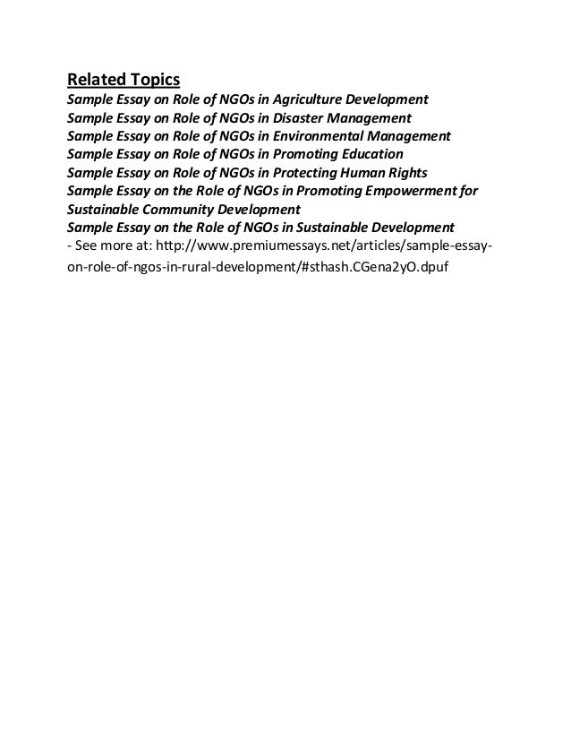 sample essay on role of ng os in rural development 3 related topics sample essay