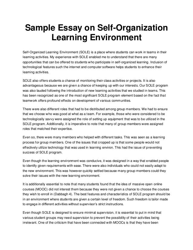 sample essay on self organization learning environment sample essay on self organization learning environment self organized learning environment sole