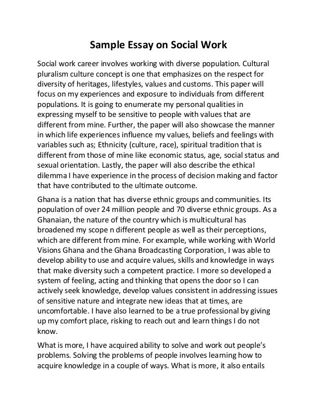 sample essay on social work sample essay on social work social work career involves working diverse population