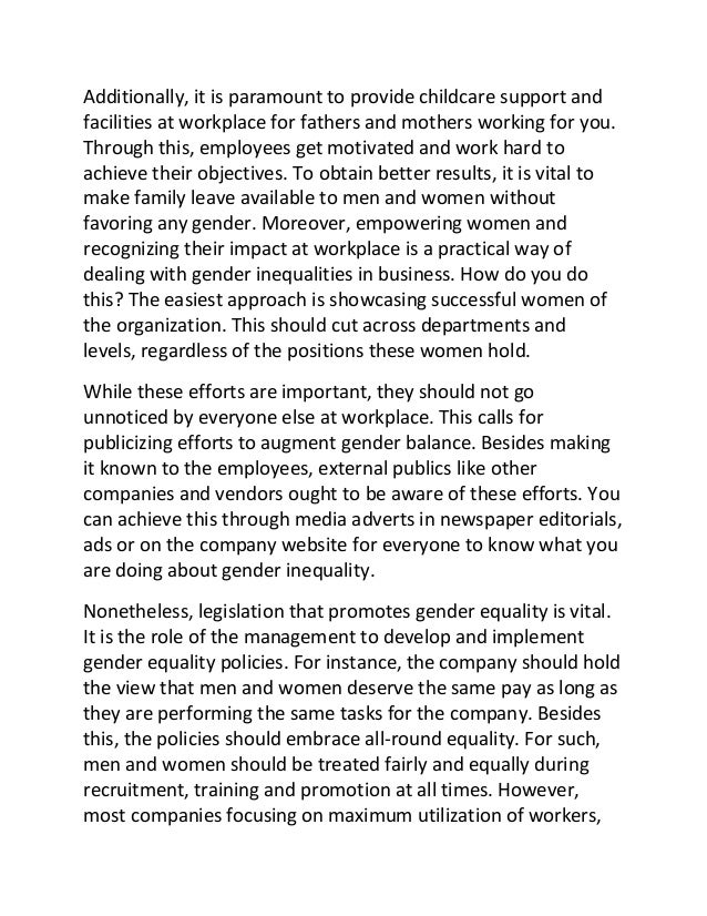 gender inequality essays conclusion Gender inequality the what is gender inequality sociology essay print conclusion from all the discussing above.