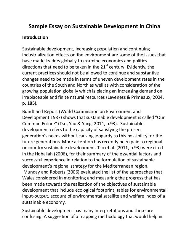 Essay on sustainable development the need of hour