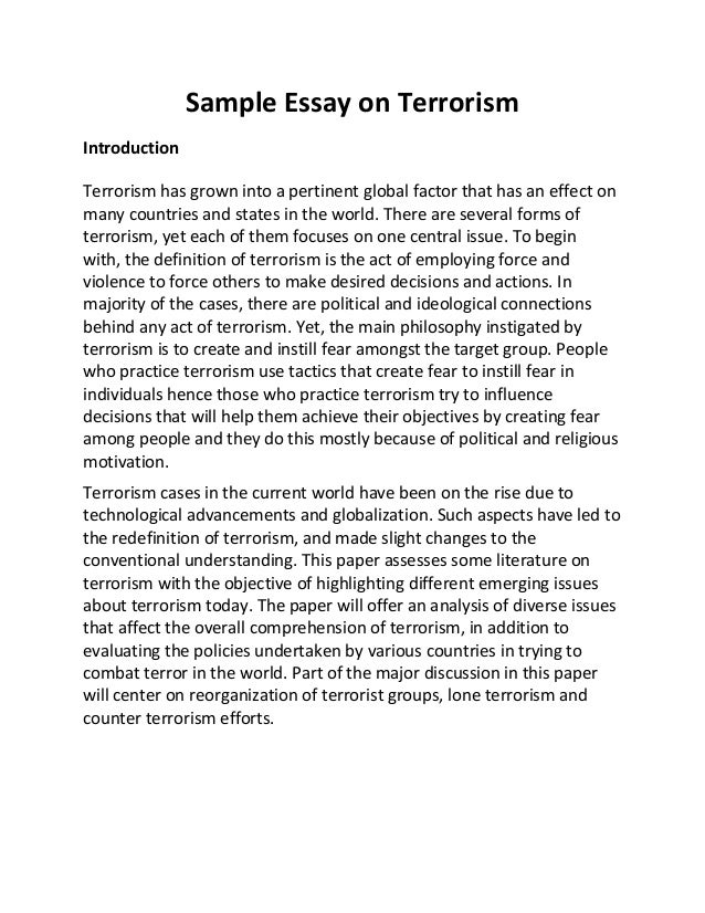 Structure Of A Research Essay Sample Essay On Terrorism Introduction Terrorism Has Grown Into A Pertinent  Global Factor That Has An  Sample Essay For Highschool Students also Persuation Essay Sampleessayonterrorismjpgcb Essay On The Crucible