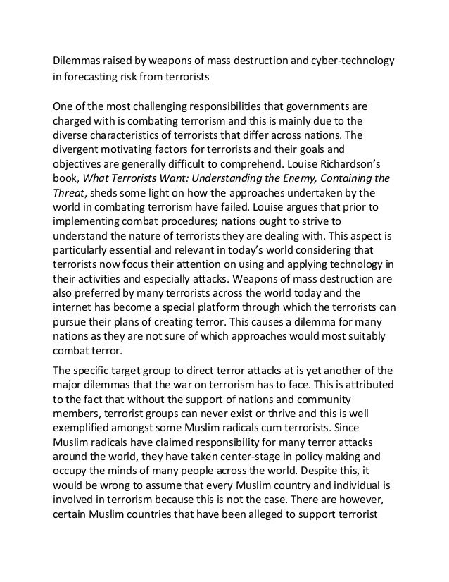 terrorosm essay Terrorism in a modern era essaysterrorism is an international problem in today.