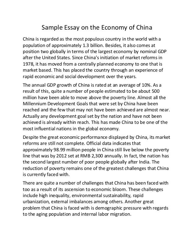Sample essay on the economy of china
