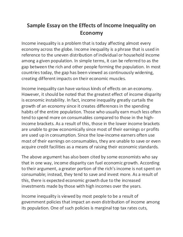 The Importance Of Learning English Essay Sample Essay On The Effects Of Income Inequality On Economy Income  Inequality Is A Problem That  Example Of An Essay Proposal also Topics For Essays In English Sample Essay On The Effects Of Income Inequality On Economy Environmental Science Essays
