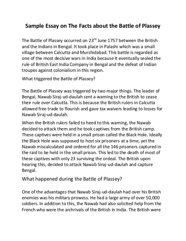 Essay on battle of plassey