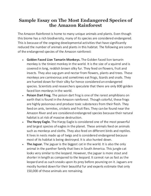 Animal Experimentation Essay Sample Essay On The Most Endangered Species Of The Amazon Rainforest The  Amazon Rainforest Is Home  Essay My Family also The Outsider Essay Sample Essay On The Most Endangered Species Of The Amazon Rainforest Mother Teresa Biography Essay