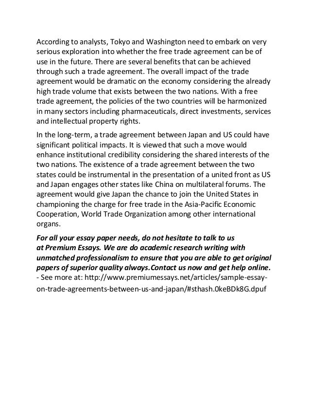 sample essay on trade agreements between us and  2