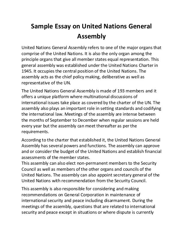 Superb Sample Essay On United Nations General Assembly United Nations General  Assembly Refers To One Of The ...