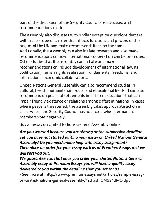 Essay About United Nations  Good Synthesis Essay Topics also Thesis For An Essay  General Paper Essay