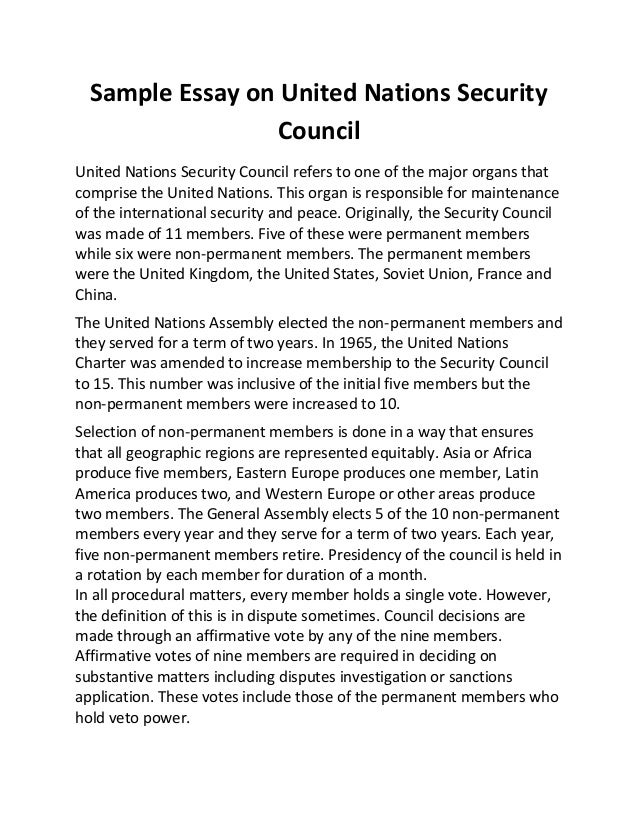 sample essay on united nations security council sample essay on united nations security council united nations security council refers to one of the