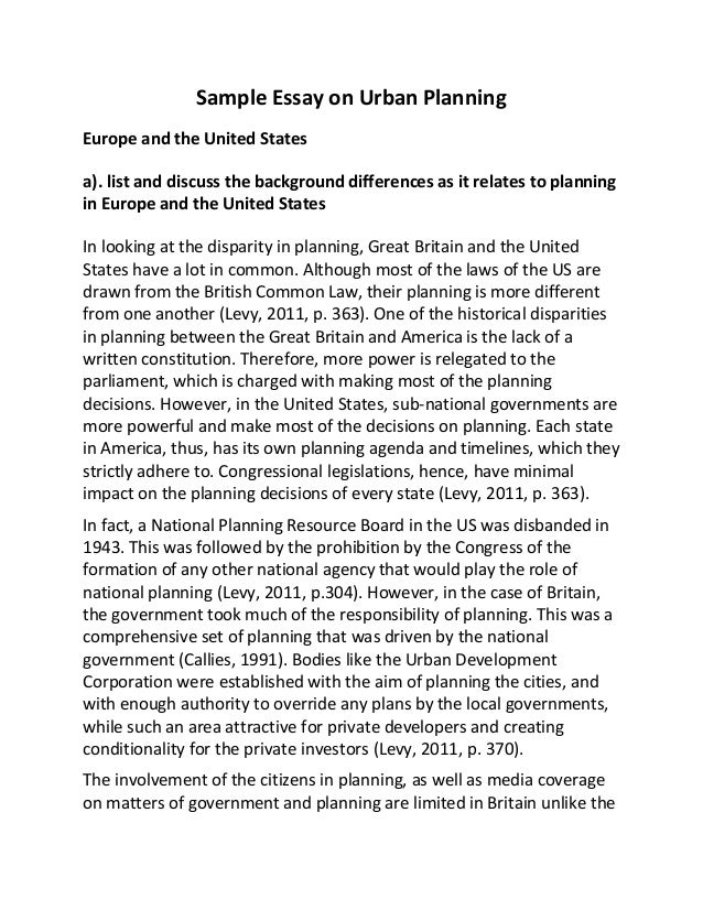 sample essay on urban planning sample essay on urban planning europe and the united states a list and discuss
