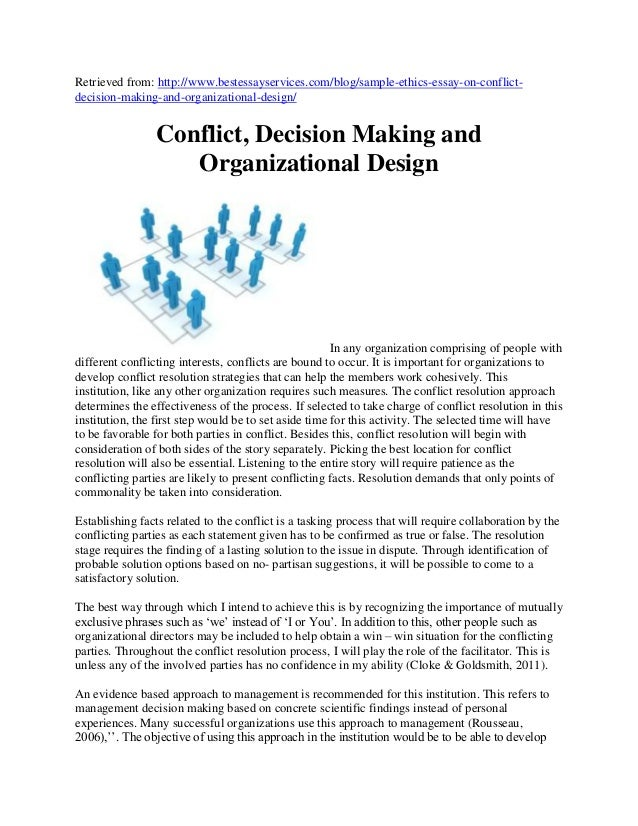 sample ethics essay summary on conflict decision making and organiza  sample ethics essay summary on conflict decision making and organizational design 2