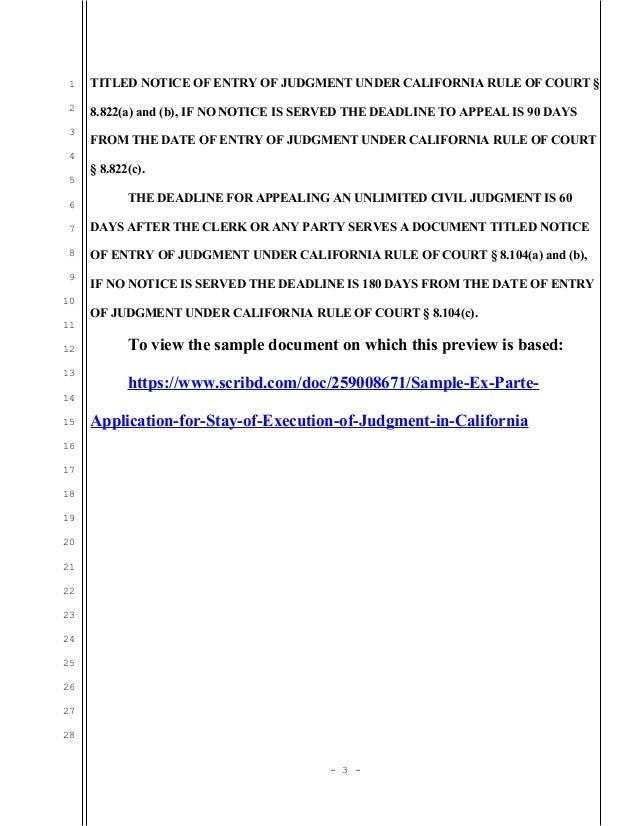 Sample ex parte application for stay of execution of judgment in Cal…