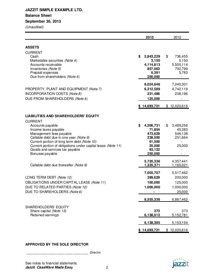 Sample Financial Statement  Ex