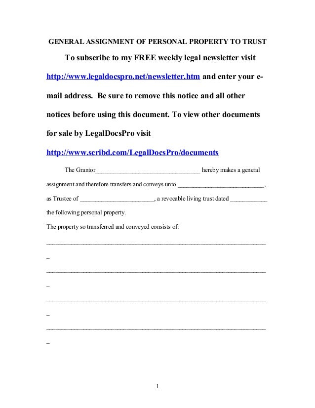 Assignment of personal property