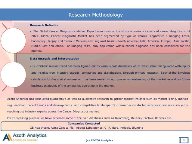 (c) AZOTH Analytics Research Methodology Research Definition • The Global Cancer Diagnostics Market Report comprises of th...