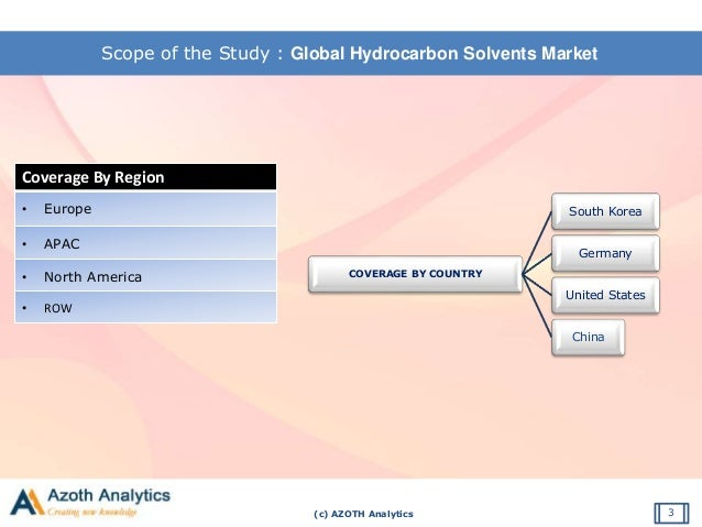 (c) AZOTH Analytics Scope of the Study : Global Hydrocarbon Solvents Market 3 Coverage By Region • Europe • APAC • North A...