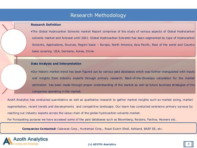 (c) AZOTH Analytics Research Methodology Research Definition •The Global Hydrocarbon Solvents market Report comprises of t...