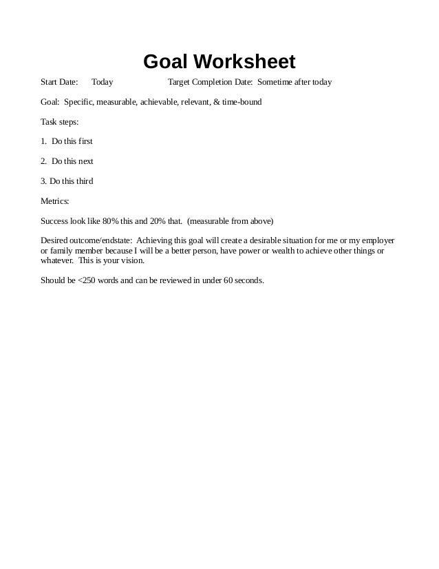 Goal Setting Worksheet Example