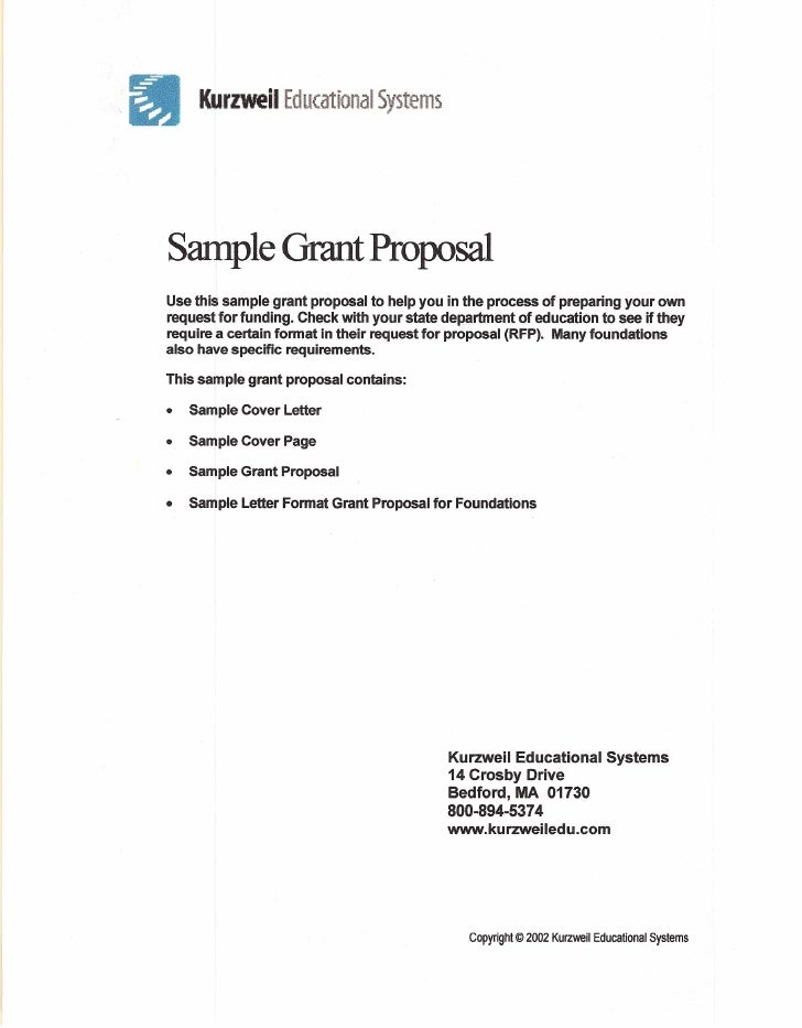KurzwellII Educational Systems Sample Grant Proposal Use This Sample Grant  Proposal ...  Sample Cover Page