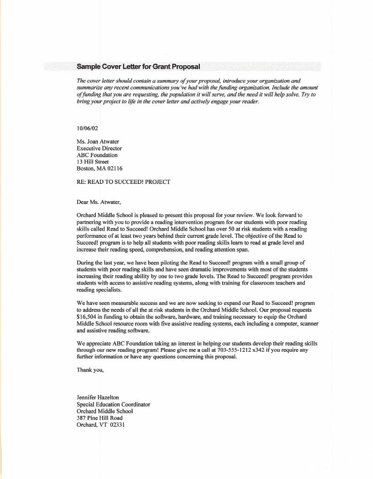 Grant Proposal Letter Samplegrantproposalletter Sample Grant