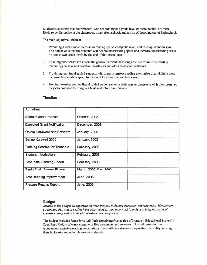 Sample Grant Proposal Grant Proposal Letter