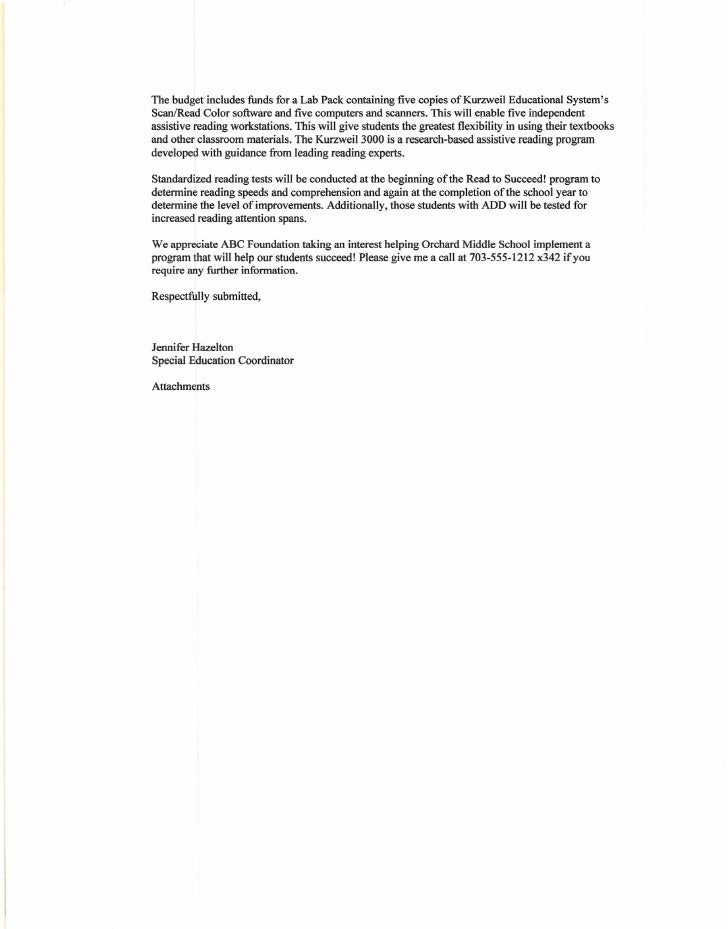 9 - Grant Proposal Cover Letter