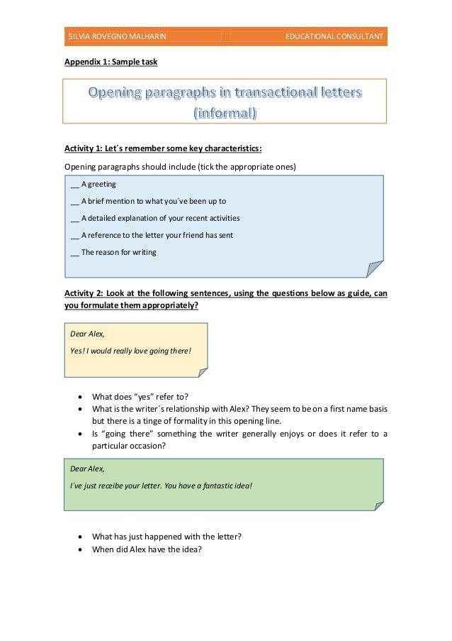 SILVIA ROVEGNO MALHARIN EDUCATIONAL CONSULTANT Appendix 1: Sample task Activity 1: Let´s remember some key characteristics...