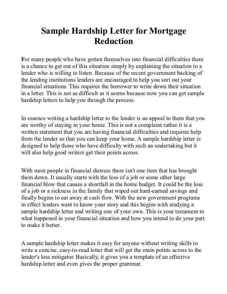 Sample hardship letter for mortgage reduction