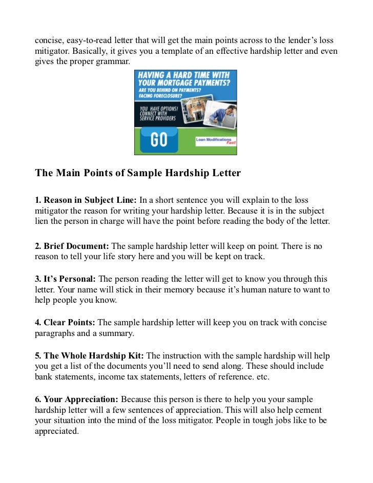 sample hardship letter sample for mortgage reduction