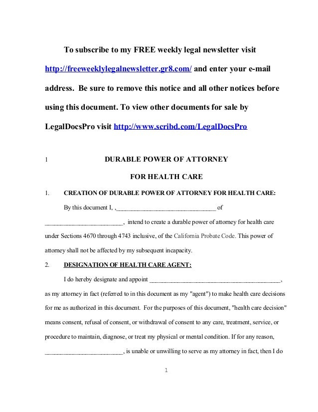 FREE sample California durable health care power of attorney