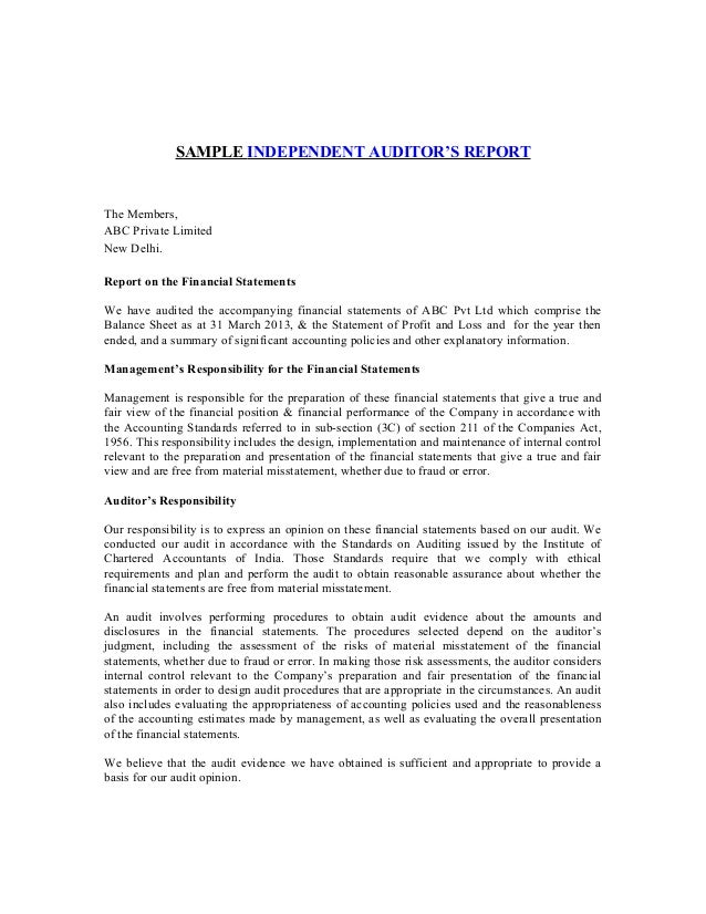 SAMPLE INDEPENDENT AUDITORu0027S REPORT The Members, ABC Private Limited New  Delhi. Report On The ...  Format For Audit Report