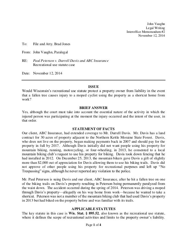Sample interoffice memorandum – Sample of Interoffice Memo