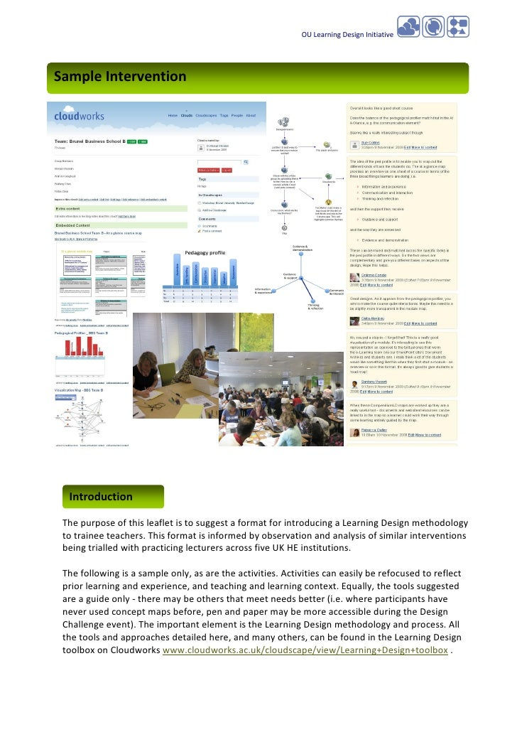 OU Learning Design Initiative     Sample Intervention       Introduction   The purpose of this leaflet is to suggest a for...