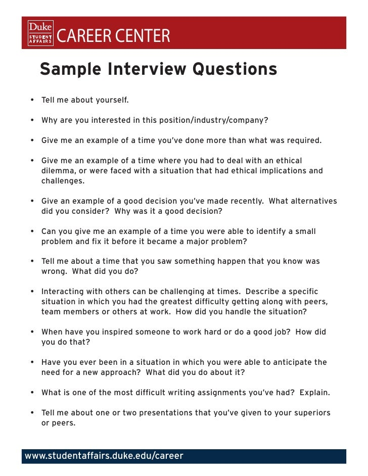 Elegant CAREER CENTER Sample Interview Questions U2022 Tell Me About Yourself. And Interview Questions