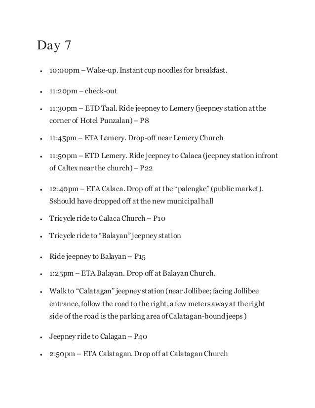 Sample itinerary – Itinerary Sample